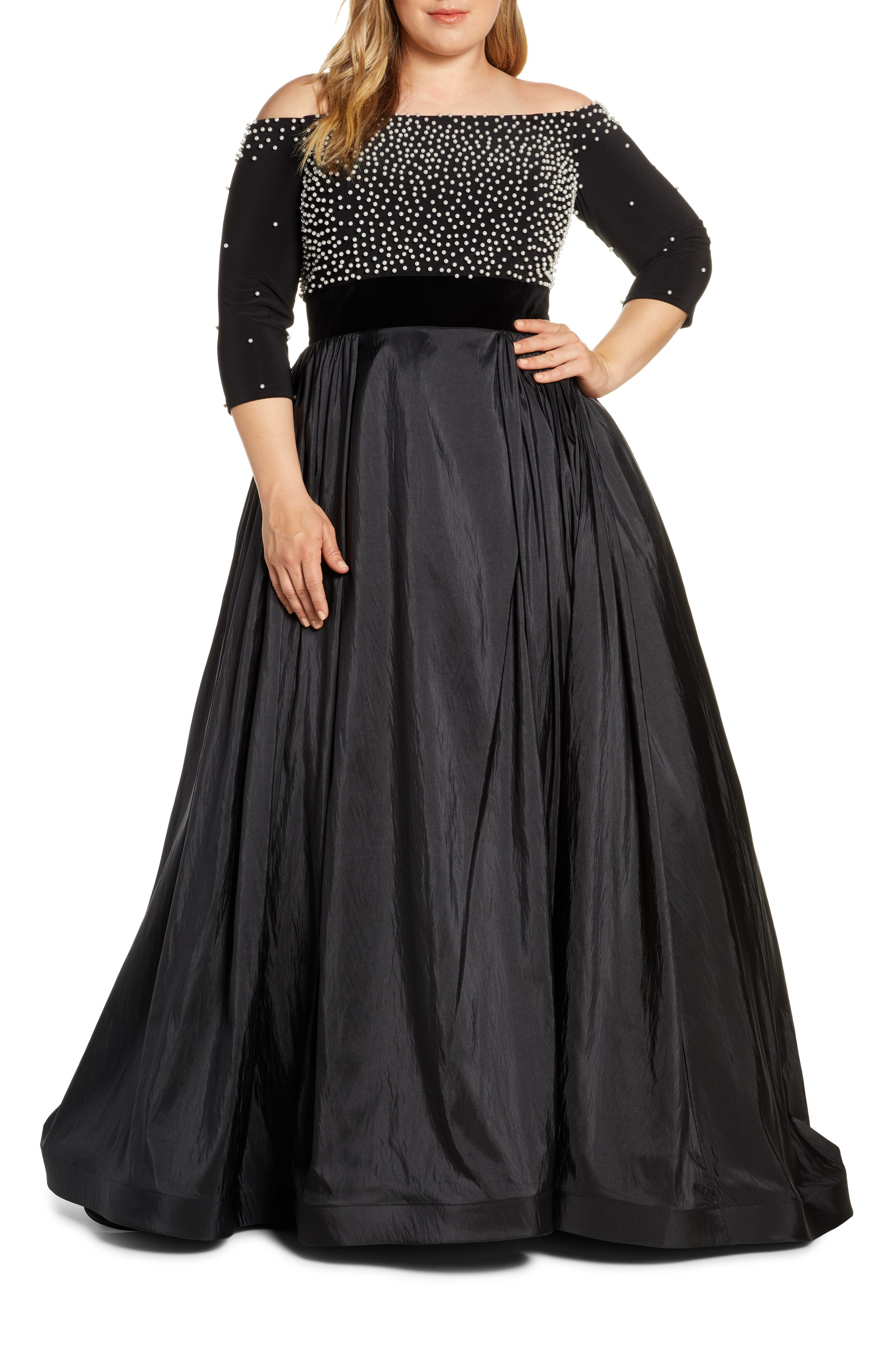 Plus Size MAC Duggal Pearl Beaded Off The Shoulder Ballgown, Black