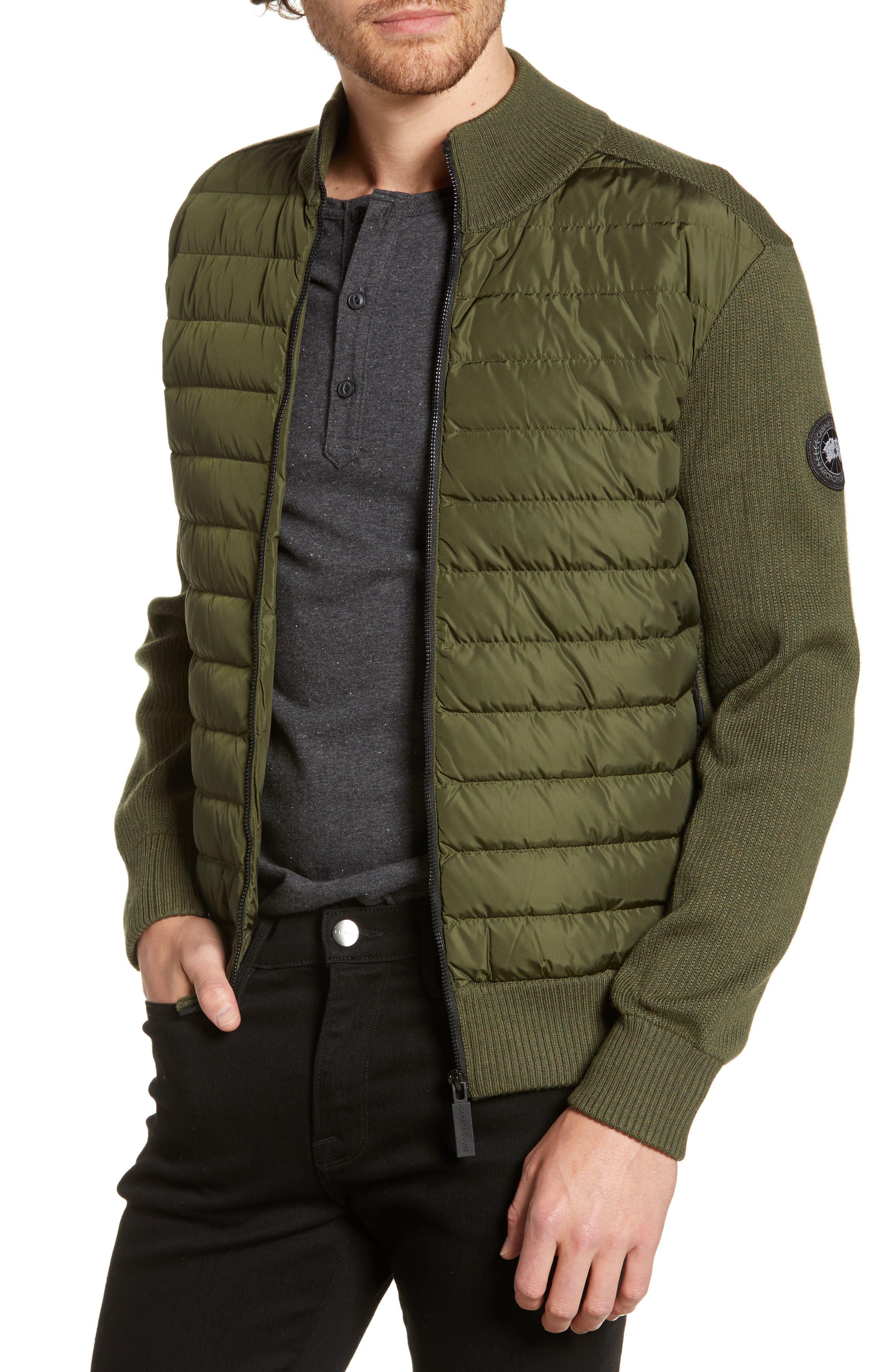 Canada Goose Hybridge Slim Fit Down Front Knit Jacket, Green