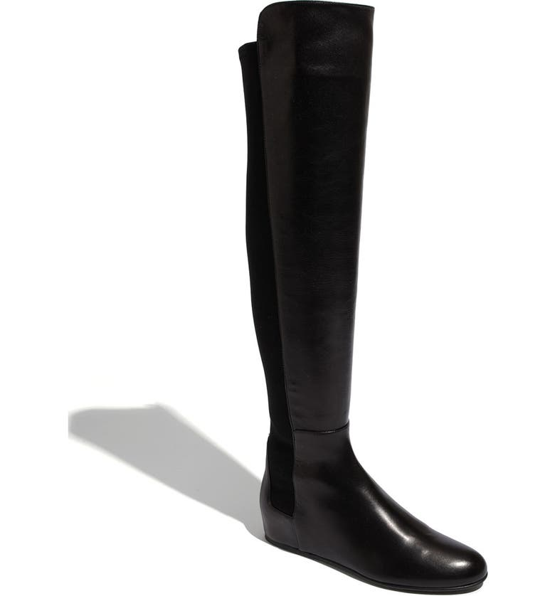 STUART WEITZMAN 'Mainline' Stretch Fabric & Nappa Leather Over the Knee Boot, Main, color, 002