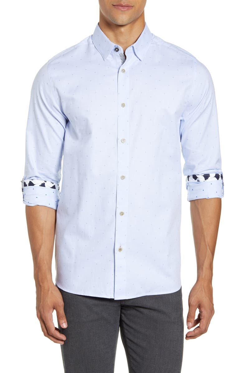TED BAKER LONDON Slim Fit Diamond Dobby Button-Up Shirt, Main, color, BLUE