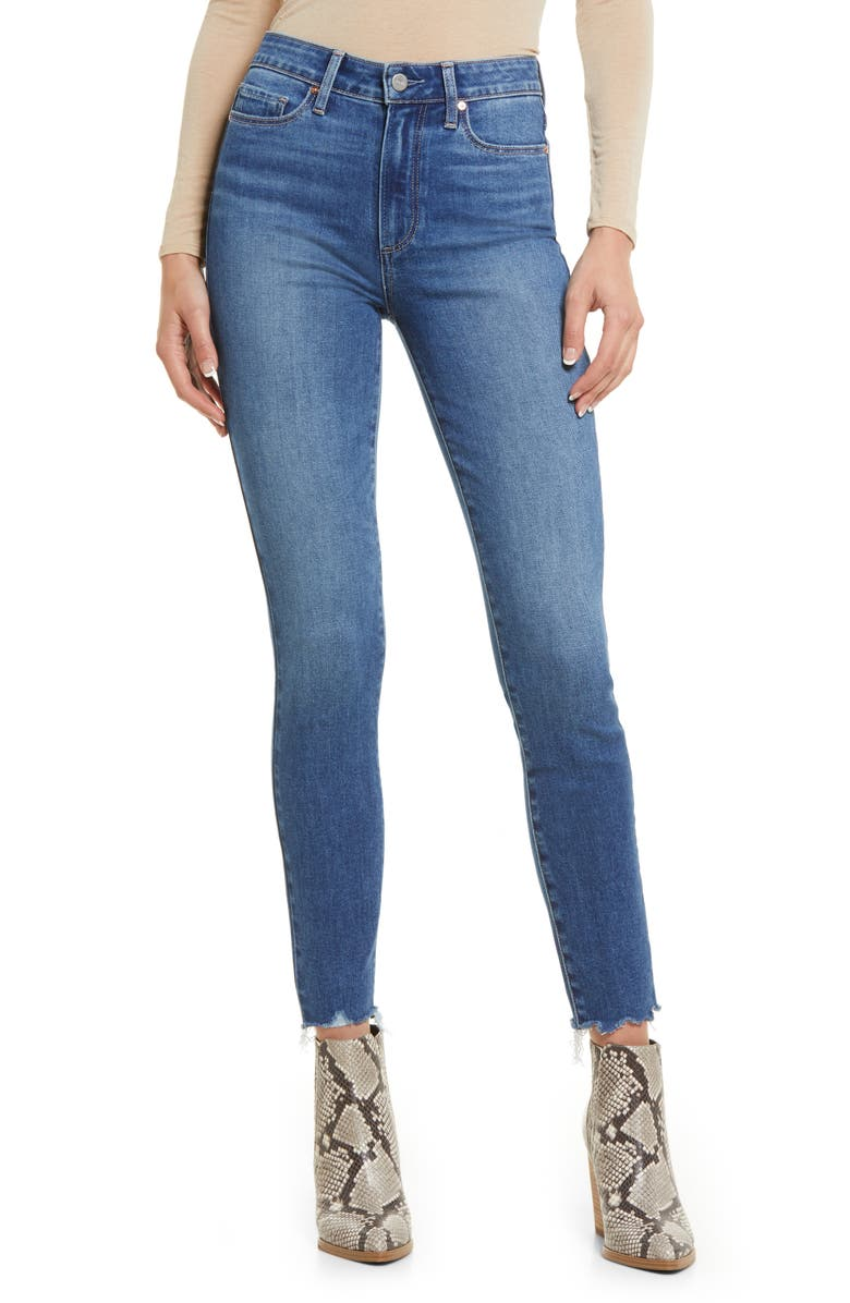 PAIGE Hoxton Raw Hem Ankle Skinny Jeans, Main, color, LIMITLESS W/ RAGGED FRAY HEM