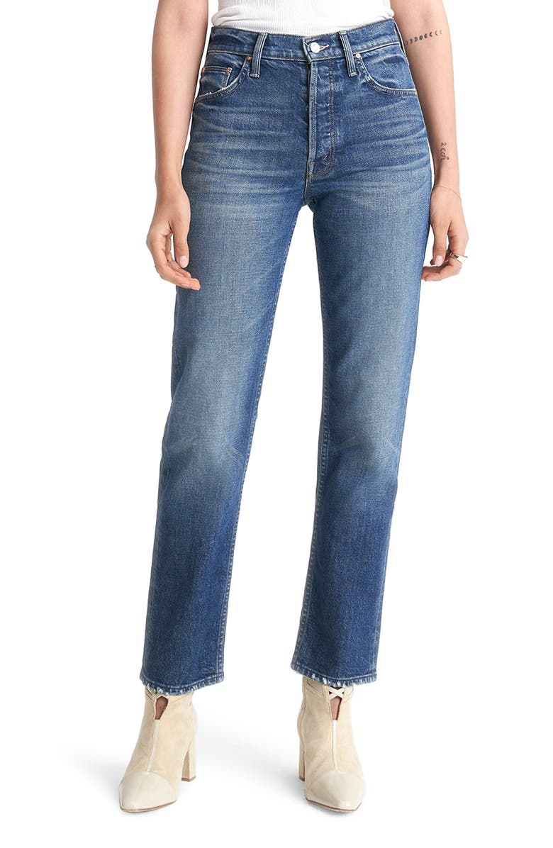 MOTHER The Tomcat High Waist Straight Leg Ankle Jeans, Main, color, TELL IT TO THE POPE