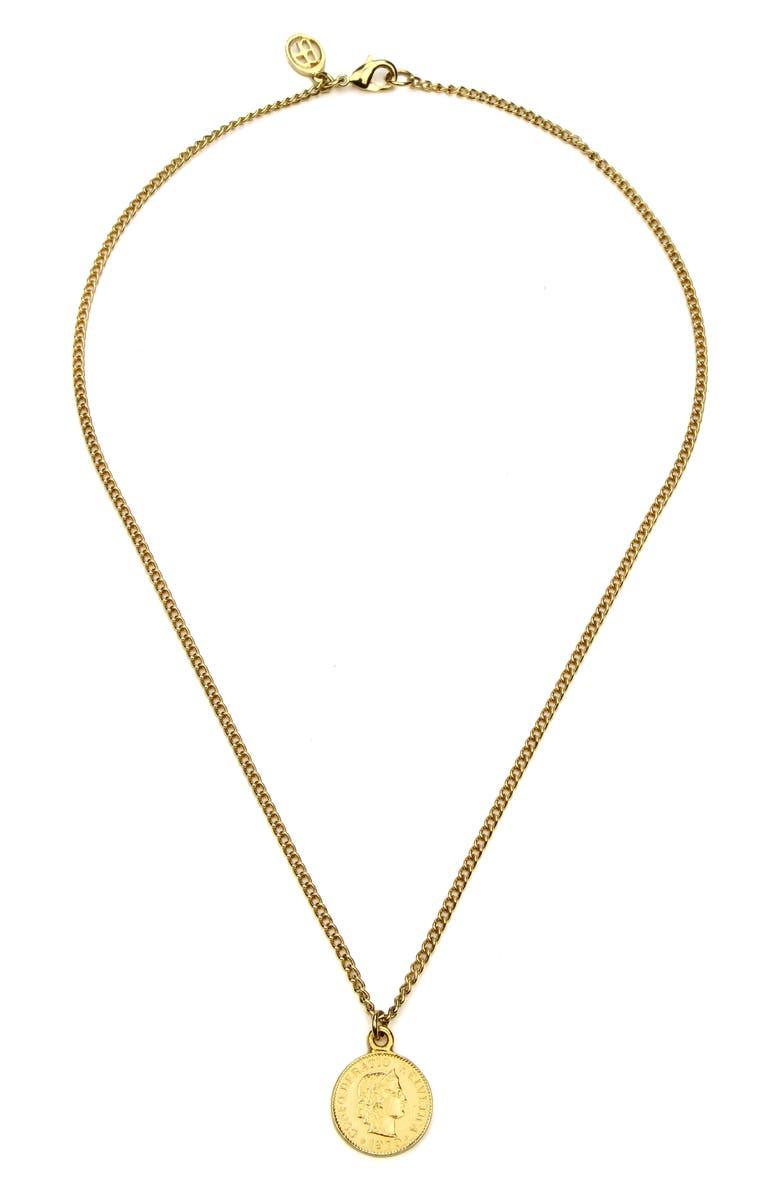 BEN-AMUN Small Coin Pendant Necklace, Main, color, 710