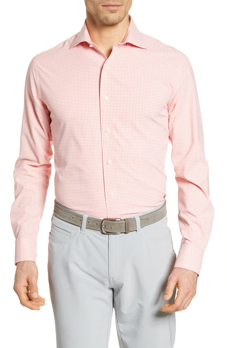 PETER MILLAR Hampton Natural Touch Gingham Button-Up Performance Shirt, Main, color, CERISE