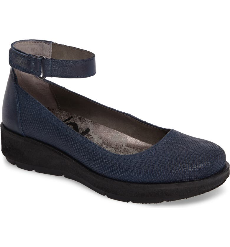 OTBT Scamper Ankle Strap Wedge, Main, color, NEW BLUE LEATHER
