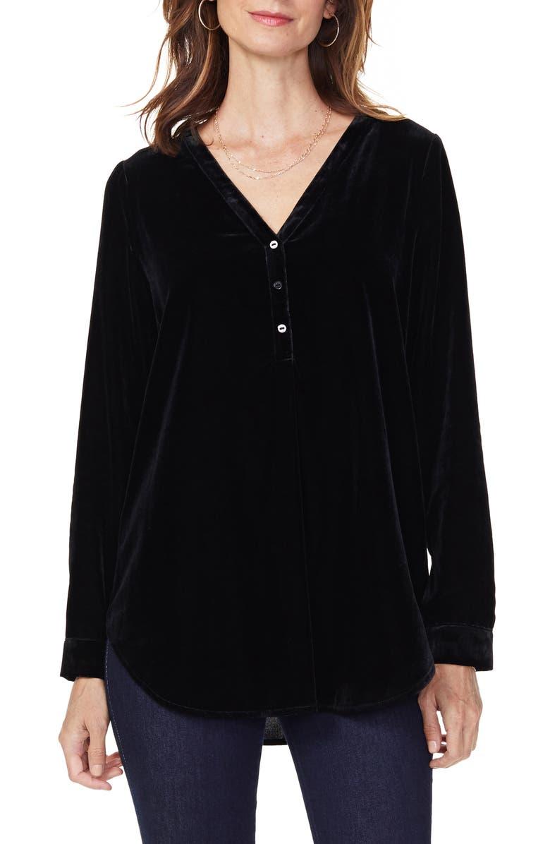 NYDJ Uptown Velvet Tunic Top, Main, color, BLACK
