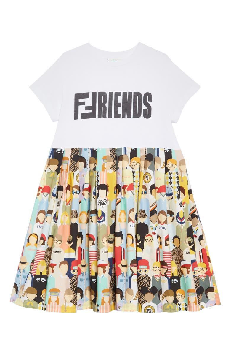 FENDI Friends Print Dress, Main, color, 100