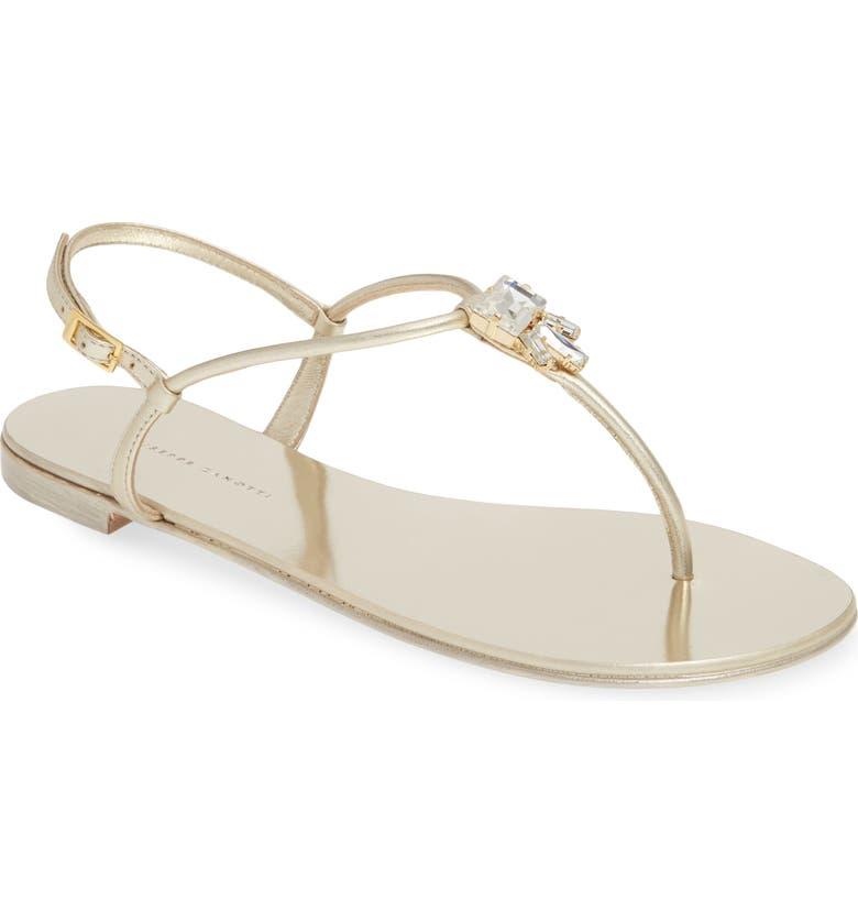 GIUSEPPE ZANOTTI Crystal Embellished Thong Sandal, Main, color, GOLD