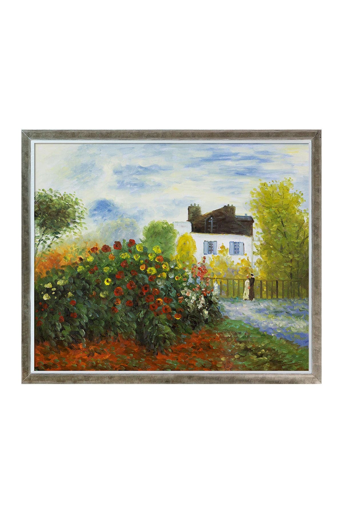 Overstock Art The Garden of Monet at Argenteuil, 1873 with Champagne Silhouette Frame, 22.4\\\