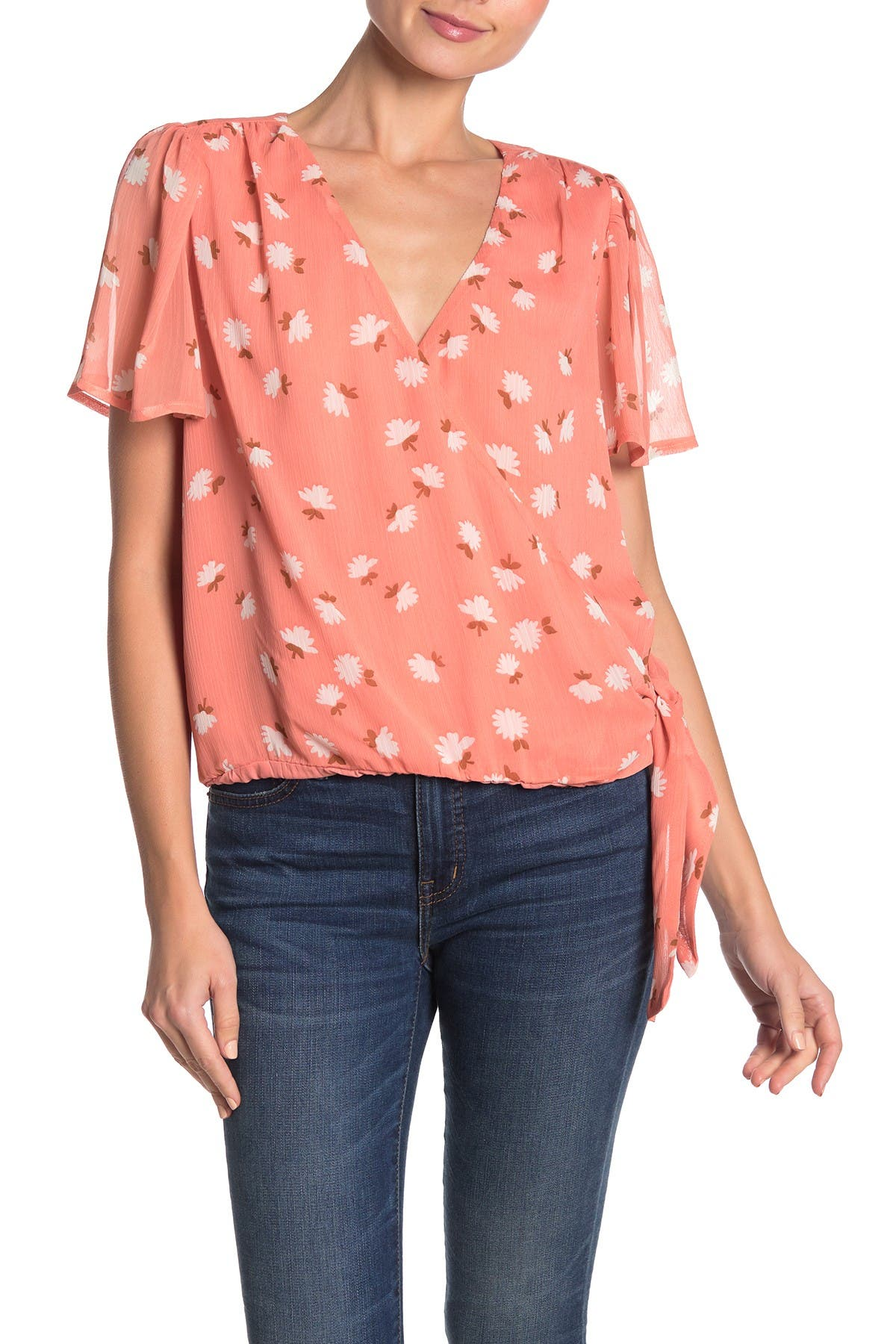 Image of Lush Floral Flutter Sleeve Blouse