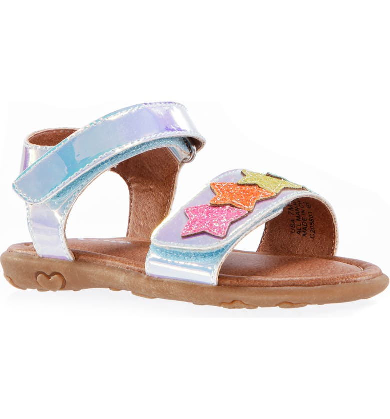 NINA Ellis Glitter Star Metallic Sandal, Main, color, SILVER IRIDESCENT