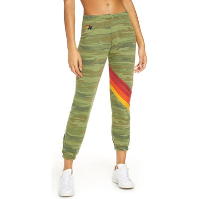Aviator Nation Chevron Stripe Sweatpants, Green