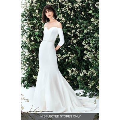 Carolina Herrera Luna Off The Shoulder Stretch Crepe Trumpet Wedding Dress
