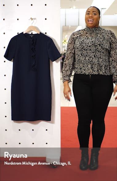 Bradford Ruffle Placket Shift Dress, sales video thumbnail