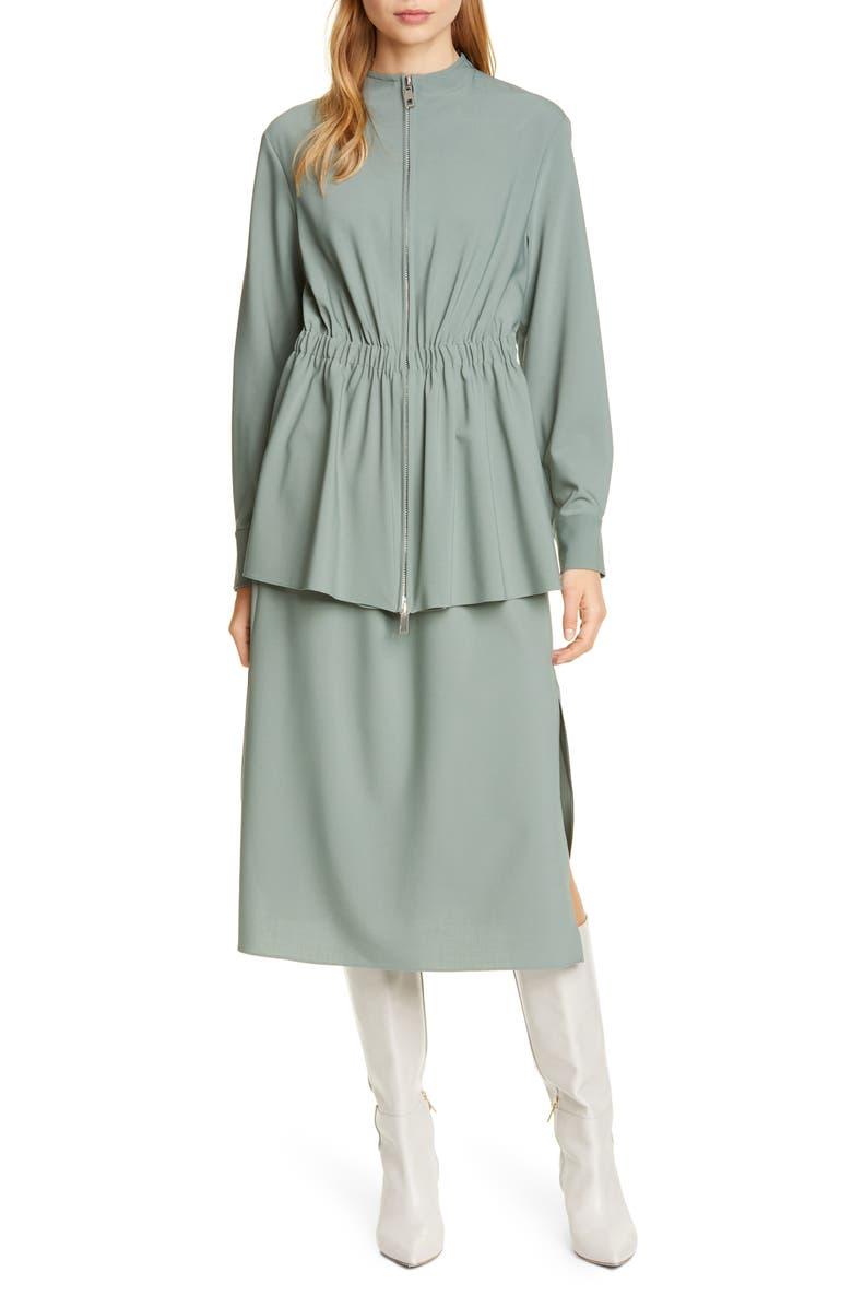 TIBI Long Sleeve Double Layer Plain Weave Dress, Main, color, DARK MINT