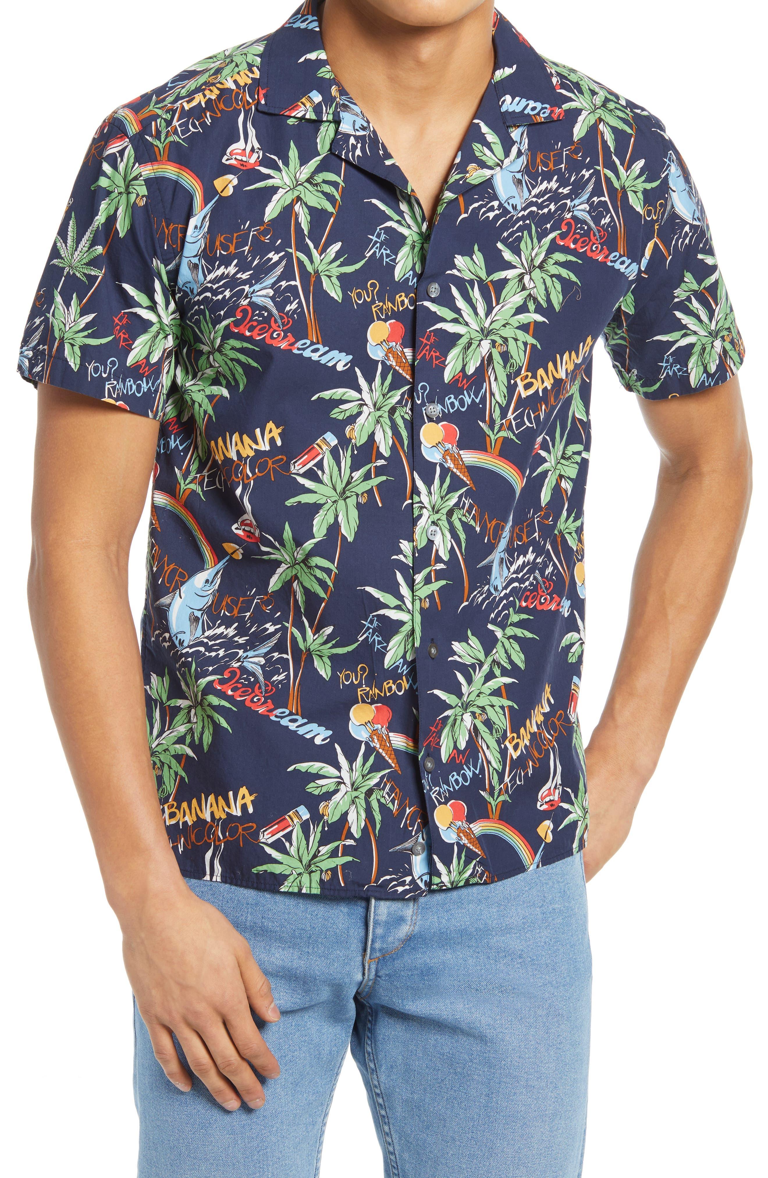 Print Button-Up Camp Shirt