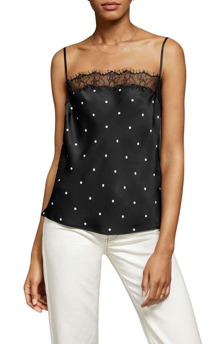 ANINE BING Monroe Lace Trim Silk Camisole, Main, color, BLACK