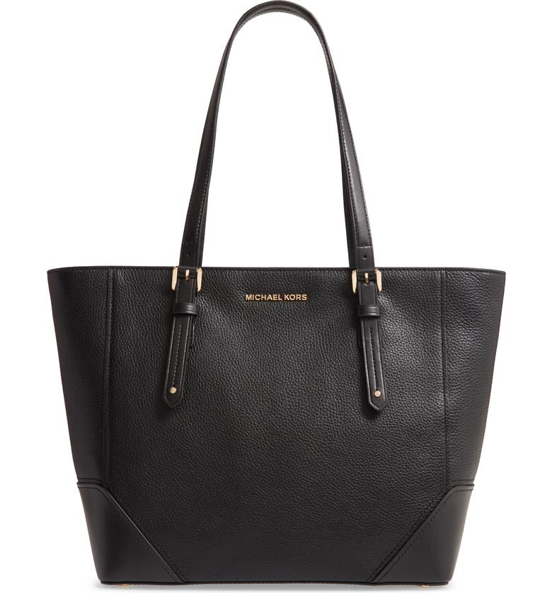 MICHAEL MICHAEL KORS Large Leather Tote, Main, color, BLACK