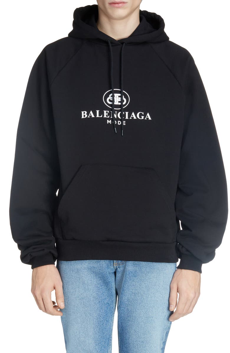BALENCIAGA BB Mode Hooded Sweatshirt, Main, color, BLACK