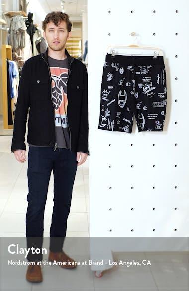 Reverse Weave Scribble Print Fleece Shorts, sales video thumbnail