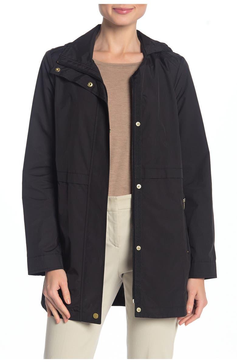 COLE HAAN Packable Hooded Rain Jacket, Main, color, BLACK