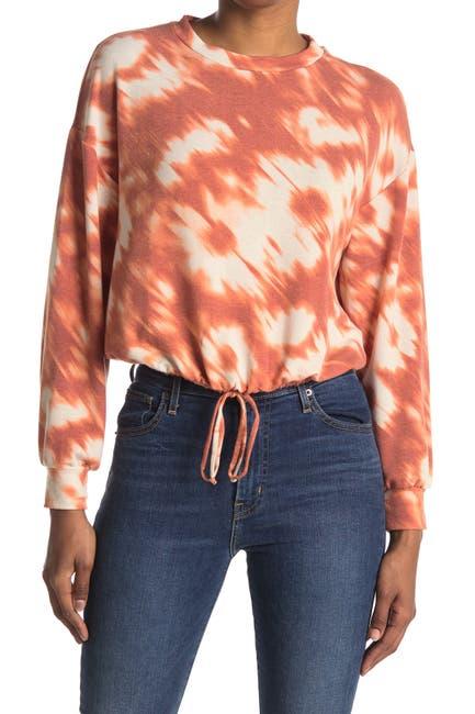 Image of Lush Long Sleeve Tie Dye Print Drawstring Top