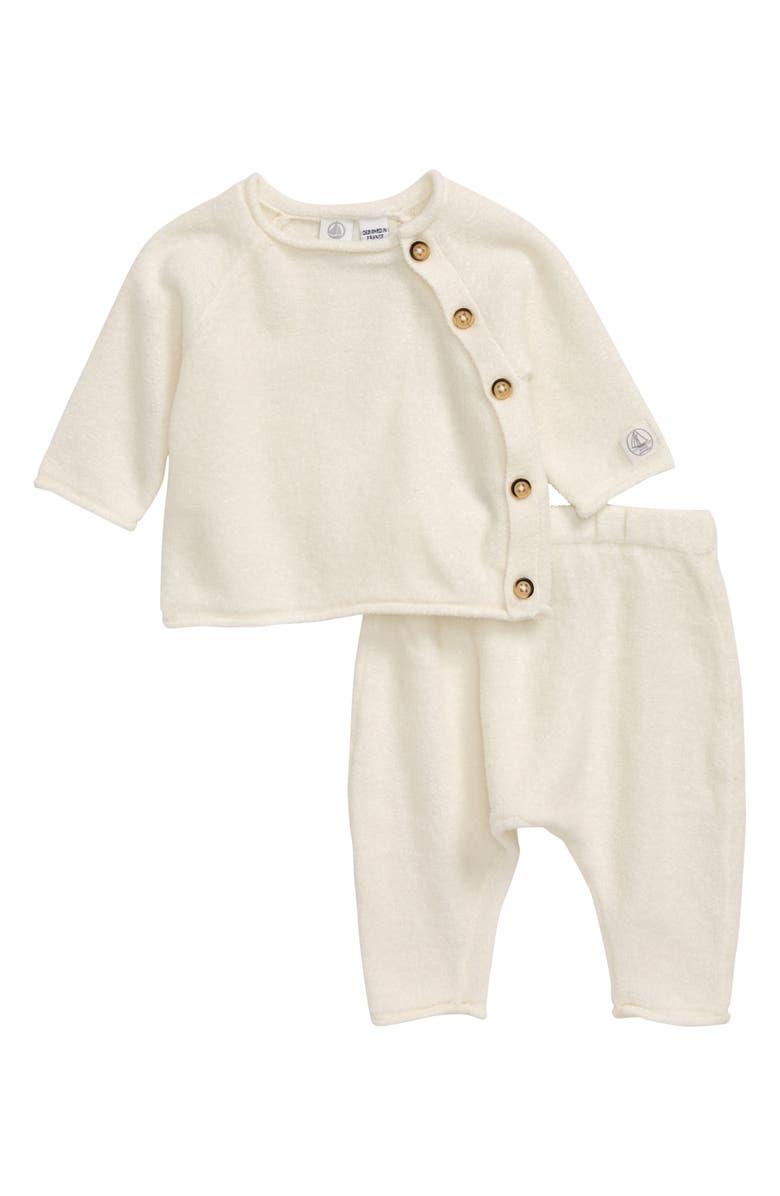 PETIT BATEAU Long-Sleeve Top & Pants Set, Main, color, WHITE