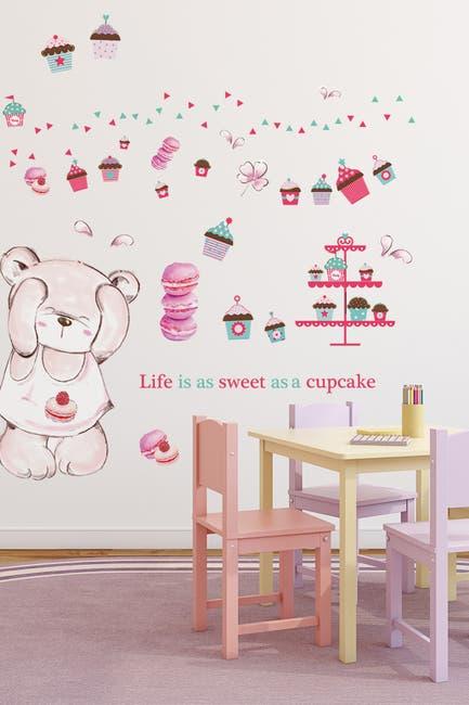 Image of WalPlus Life is a Sweet Cupcake & Macaron Bear Nursery Wall Sticker Set