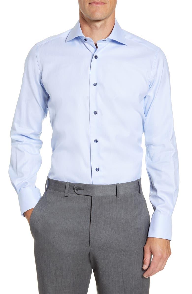 DAVID DONAHUE Trim Fit Solid Dress Shirt, Main, color, SKY