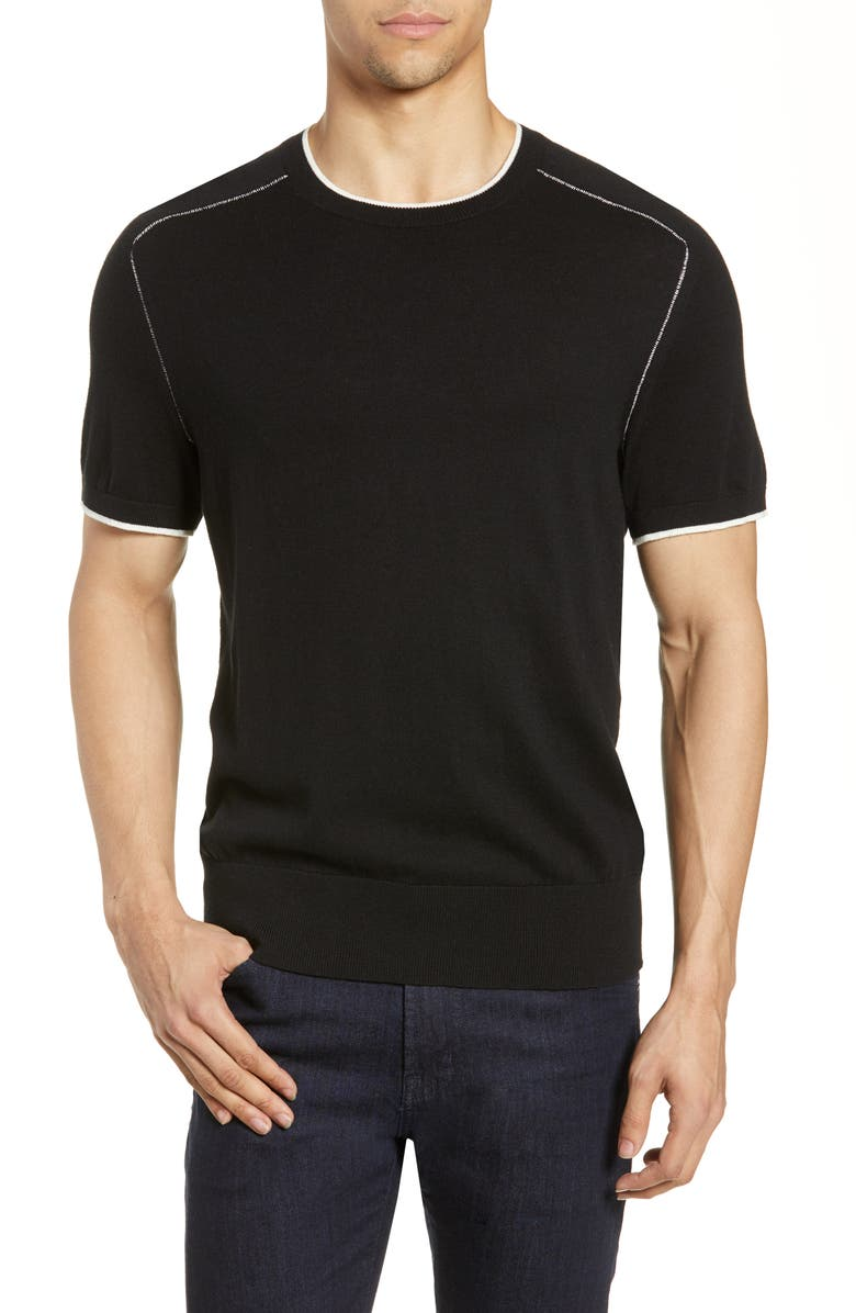 RAG & BONE Evens Slim Fit Tipped T-Shirt Sweater, Main, color, 001