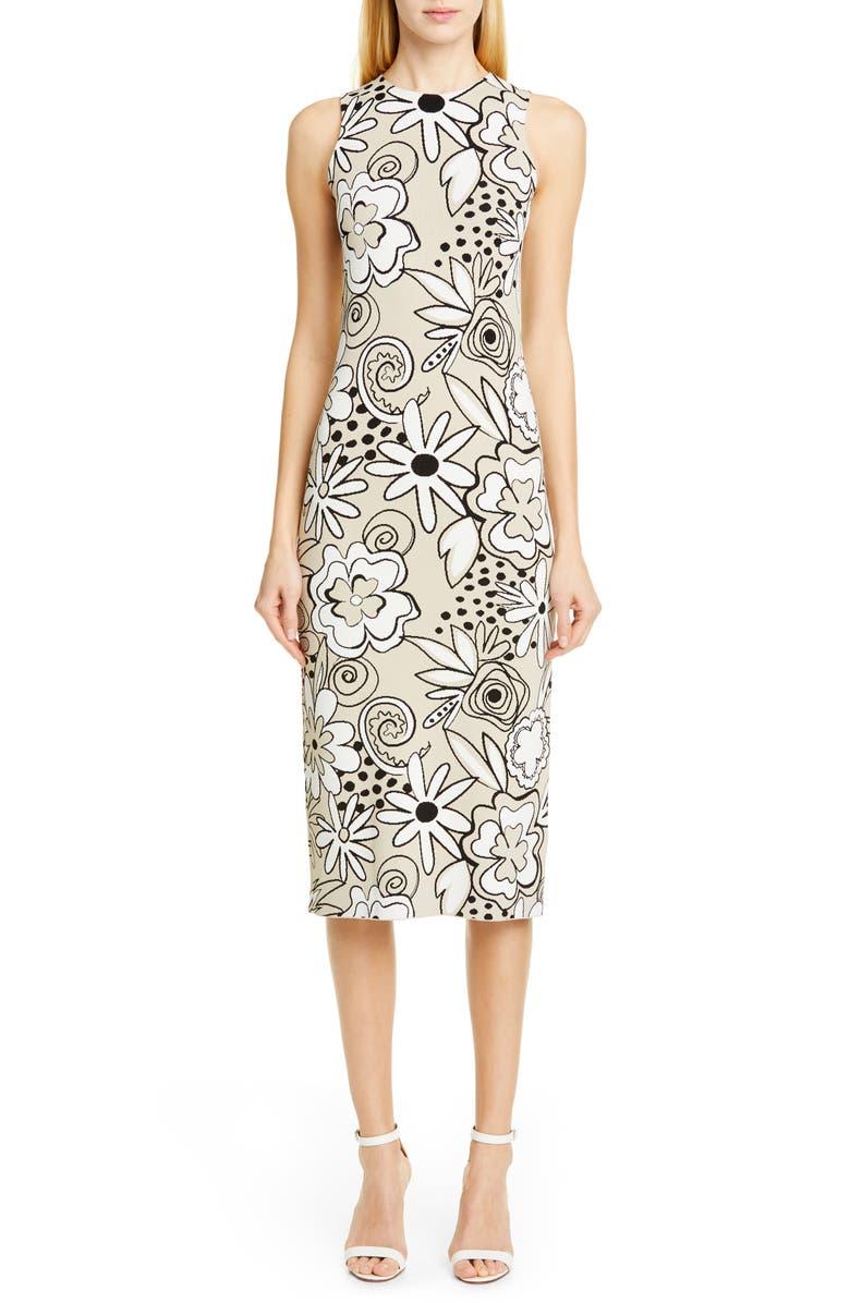 KWAIDAN EDITIONS Floral Jacquard Knit Sleeveless Dress, Main, color, 250