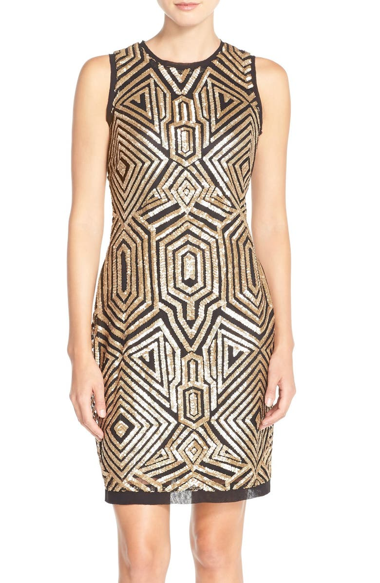 VINCE CAMUTO Sequin Chiffon Sheath Dress, Main, color, 008