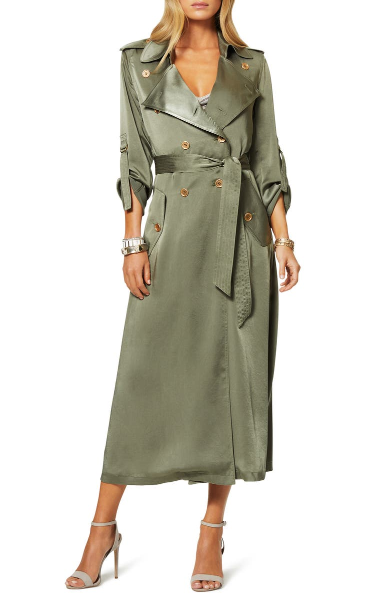 RAMY BROOK Aston Satin Trench Coat, Main, color, SAGE