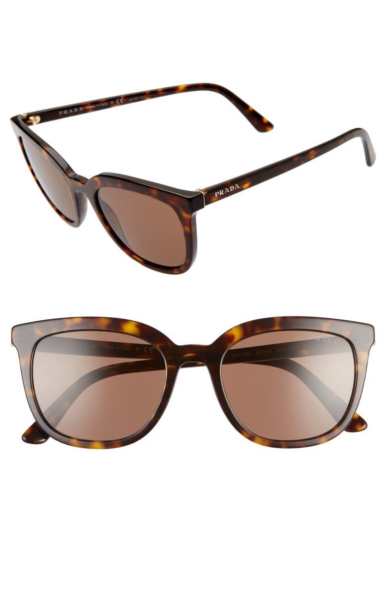 PRADA 53mm Cat Eye Sunglasses, Main, color, HAVANA/ BROWN