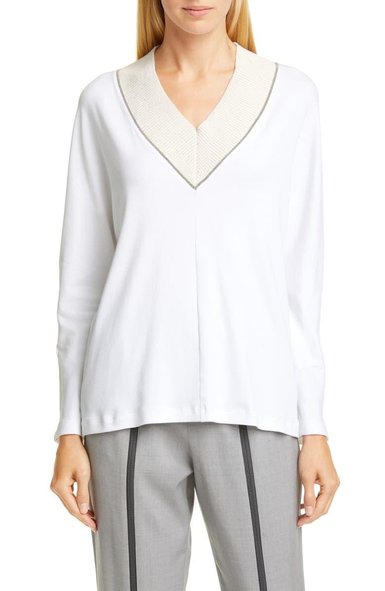 FABIANA FILIPPI Bead Trim V-Neck Cotton Blend Sweater, Main, color, 100