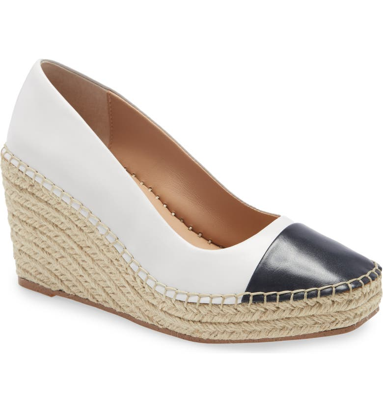 CHARLES DAVID Glider Espadrille Wedge Pump, Main, color, WHITE/ NAVY LEATHER