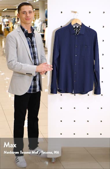 Broader Slim Fit Button-Up Piqué Shirt, sales video thumbnail