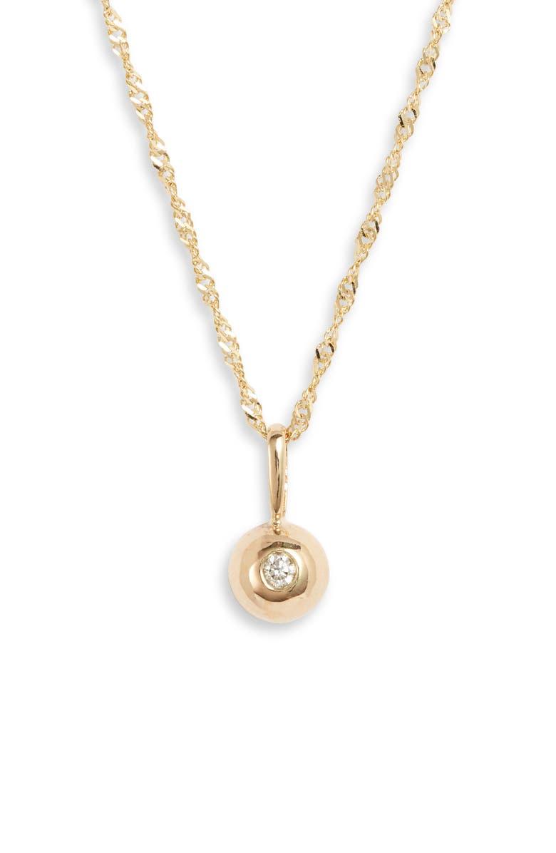 POPPY FINCH Diamond Dome Pendant Necklace, Main, color, YELLOW GOLD
