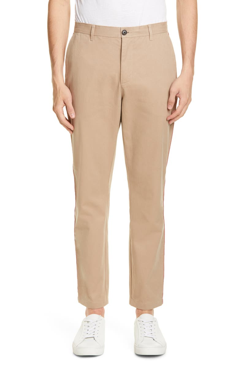 OVADIA & SONS Racing Stripe Chinos, Main, color, TAN/ RED