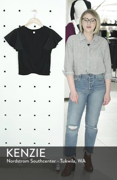 Ruffle Sleeve Twist Hem Tee, sales video thumbnail