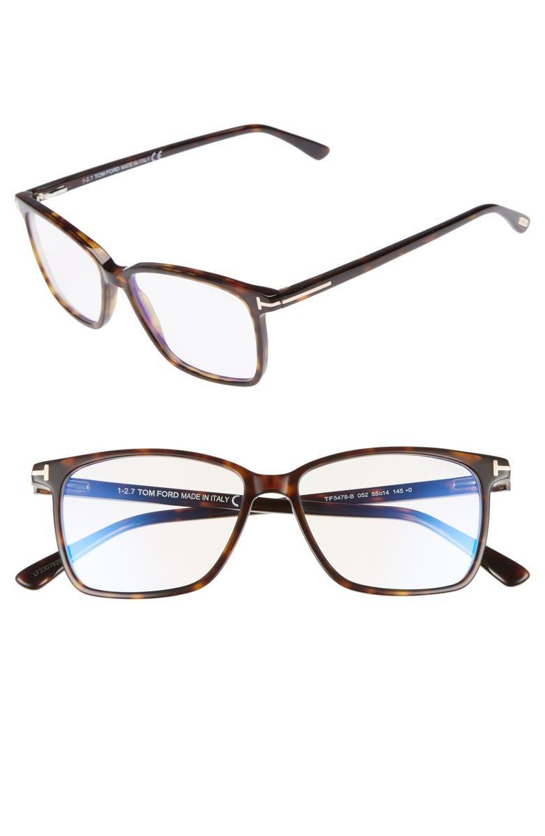 TOM FORD 55mm Blue Block Optical Glasses, Main, color, DARK HAVANA/ BLUE