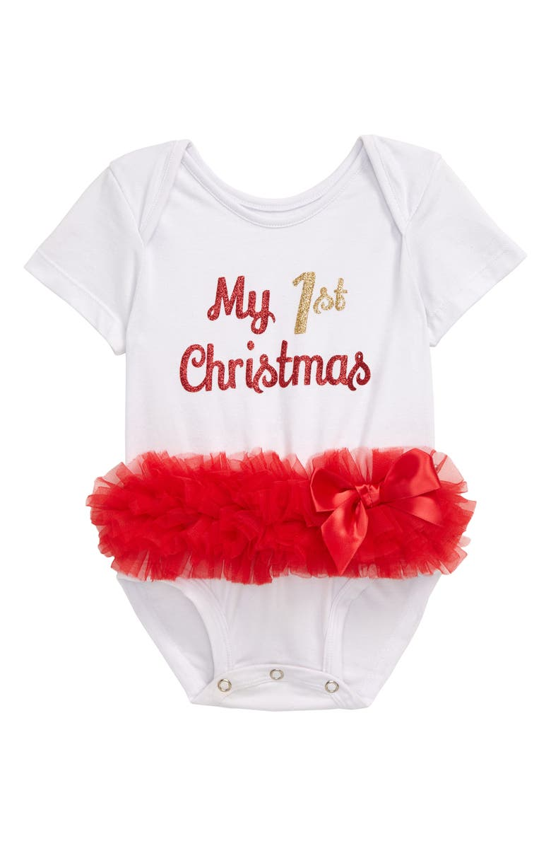 POPATU My First Christmas Skirted Bodysuit, Main, color, WHITE/ RED