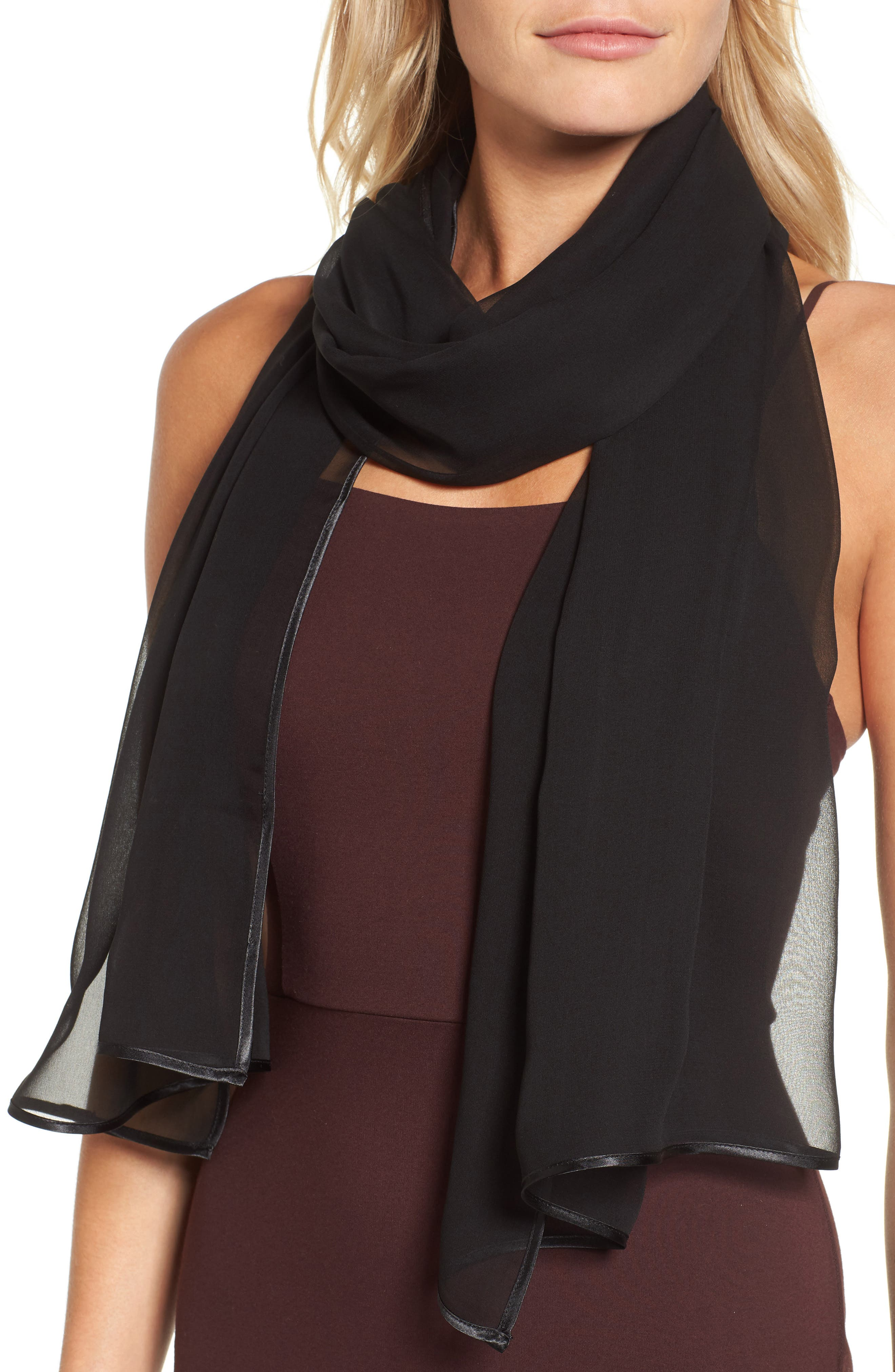 ,                             Silk Chiffon Wrap,                             Alternate thumbnail 4, color,                             BLACK
