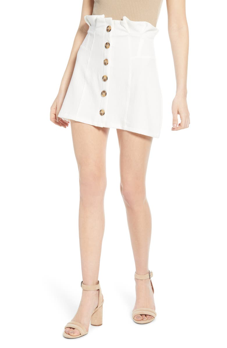 BISHOP + YOUNG Button Front Miniskirt, Main, color, WHITE