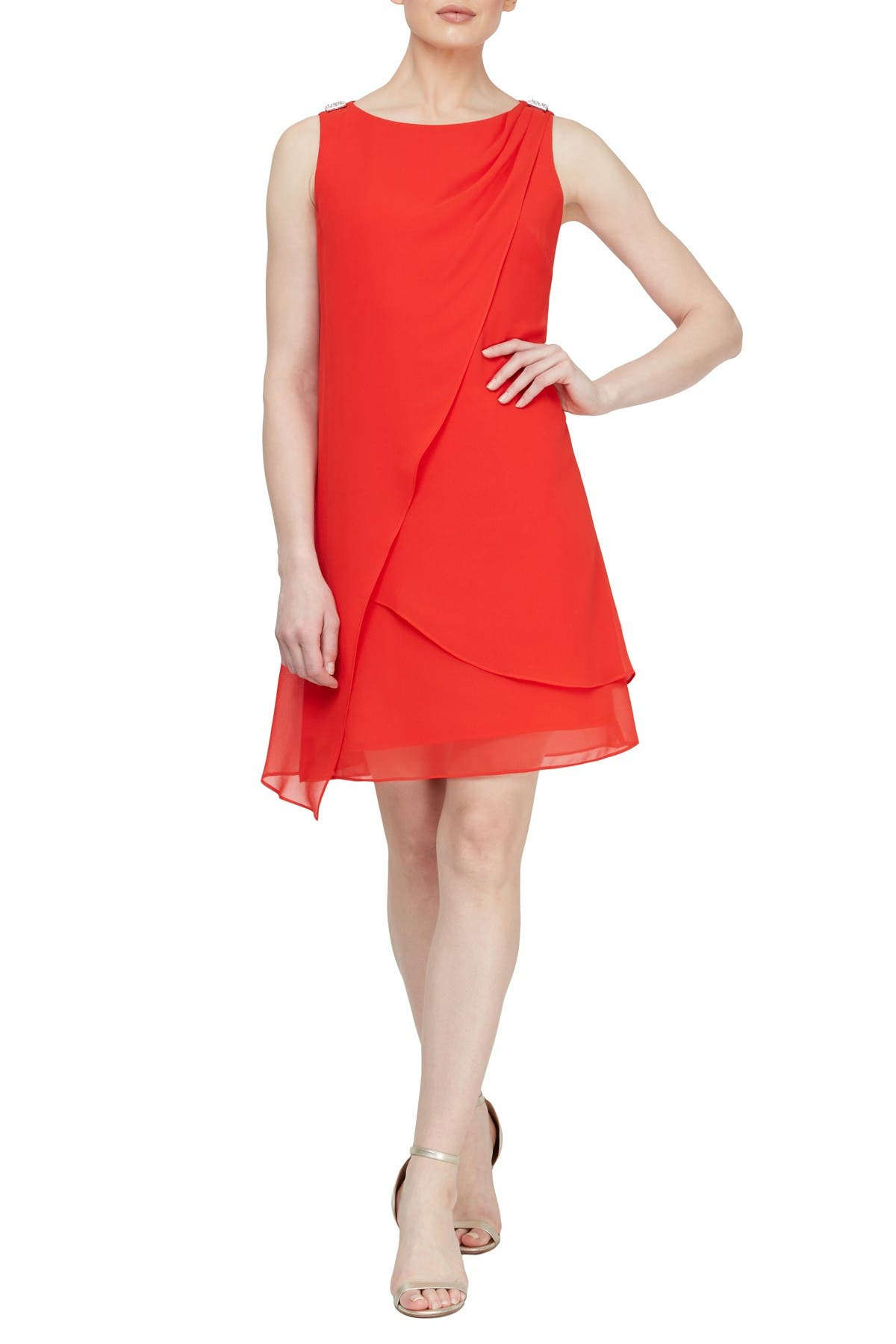 SLNY NEW Women/'s Layered Sheer One-shoulder Overlay Shift Dress TEDO