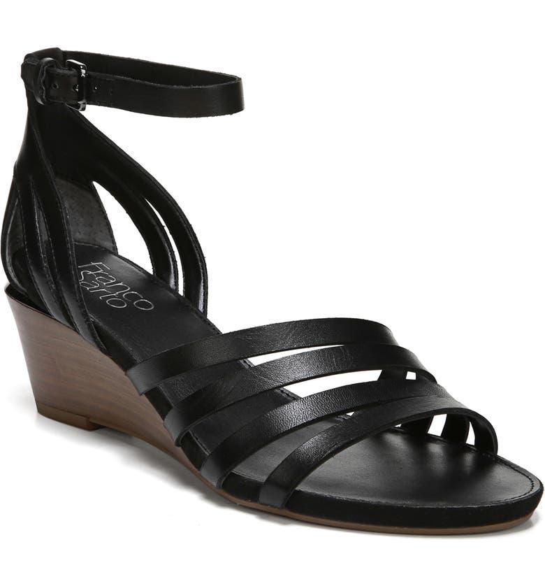 FRANCO SARTO Della Ankle Strap Wedge Sandal, Main, color, BLACK LEATHER