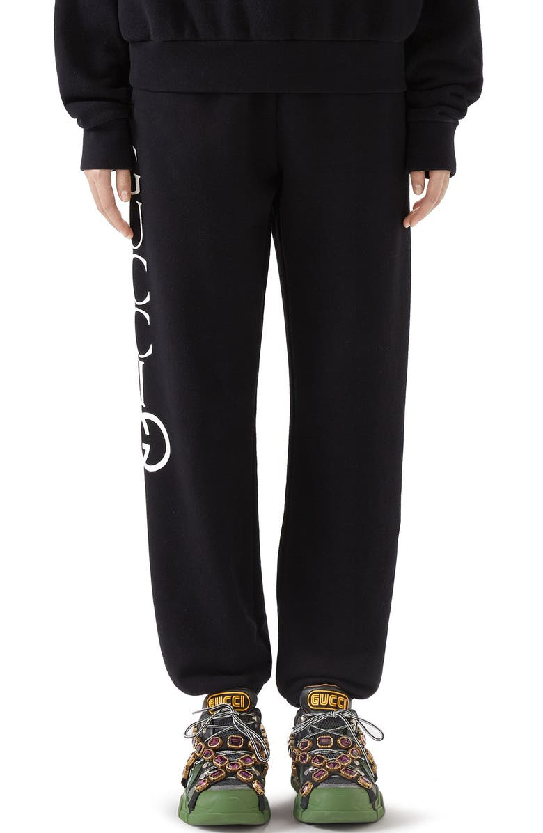 GUCCI Logo Sweatpants, Main, color, BLACK/ IVORY