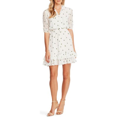 Cece Floral Embroidery Tie Neck A-Line Dress, Ivory