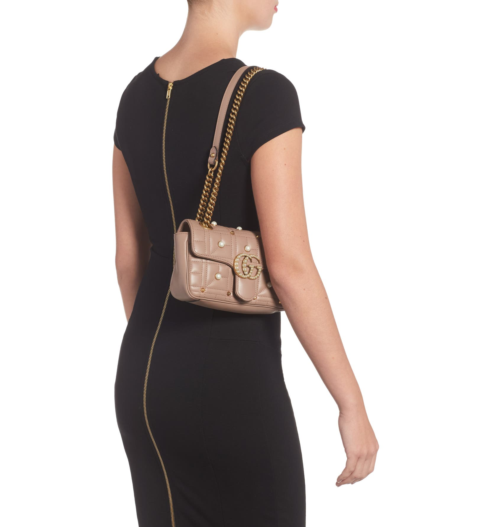 9fd8506cf Gucci Mini GG Marmont 2.0 Imitation Pearl Logo Matelassé Leather Shoulder  Bag   Nordstrom