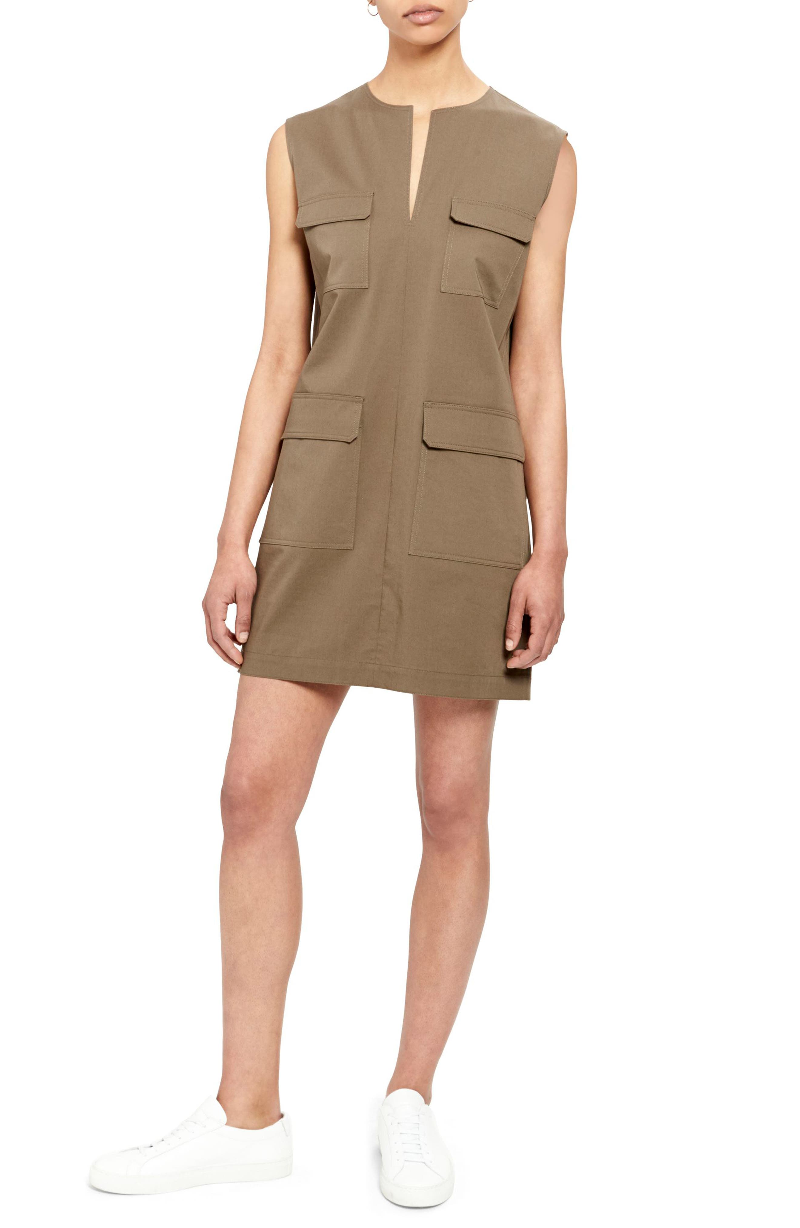 Theory Utilitarian Sleeveless Stretch Cotton Dress, Green